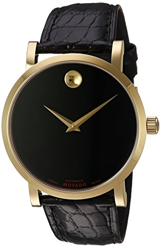 Movado-Mens-Swiss-Automatic-Gold-Tone-and-Leather-Casual-Watch-ColorBlack-Model-0607007