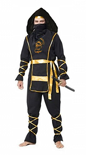 [Spring fever Adult Ninga Master Deluxe Martial Halloween Cosplay Costume Black Adult S for] (Halloween Costumes Ideas For Guys With Beards)