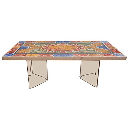 Perfect  X Marble Dining Side Coffee Center Table Top Rare Mosaic Inlay Marquetry Work