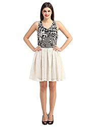 Swagpod SWAG00417_XL Rayon,Crystal Cotton Net Black,White V Neck Graphic Print Short Full Sleeve Once Piece