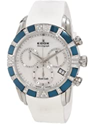 Edox Women's 10405 357BD NAIN Royal Lady Blue PVD Diamond Rubber Chrono Watch