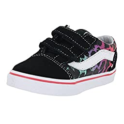 Vans Baby Girls\' Old Skool V (Inf/Tod) - (Leopard Ombre) Black/Rouge Red - 5 Infant