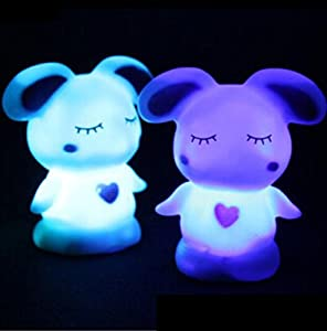 Domire Pack of 2 Color Changing Desk Bedroom Party Wedding Lamp LED Night Light,Rascal rabbit from Domire