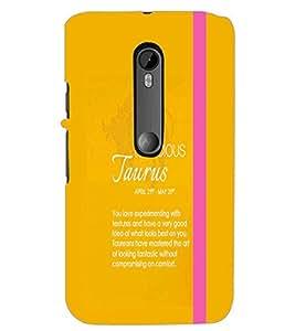 PrintDhaba Sunsign Taurus D-1223 Back Case Cover for MOTOROLA MOTO G3 (Multi-Coloured)