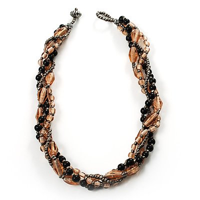 4 Strand Twisted Glass And Ceramic Choker Necklace (Black, Beige & Metallic Silver)