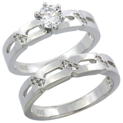 Sterling Silver 2-Piece Engagement Ring Set CZ Stones Rhodium finish, 5/32 in. 4 mm, Size 5.5