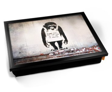 Banksy Chimp in Charge Cushion