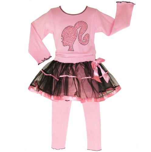 New Girls Boutique BARBIE cotton kids Clothing tutu set