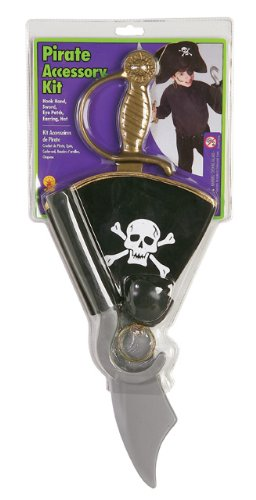 Pirate Accessory Kit with Hat, Earring, Eye Patch, Hook Hand and Sword - 1