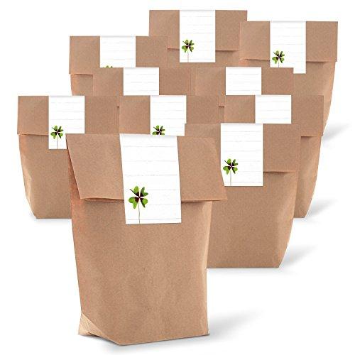 25 braune geschenkt ten papiert ten inkl beschreibbare aufkleber sticker wei mit kleeblatt. Black Bedroom Furniture Sets. Home Design Ideas