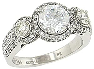 Ladies Round and Crisscut Baguette Diamond Engagement Ring with Pave Trim Diamond 1.22cttw G/si1 (7.5mm center Stone Not Included)