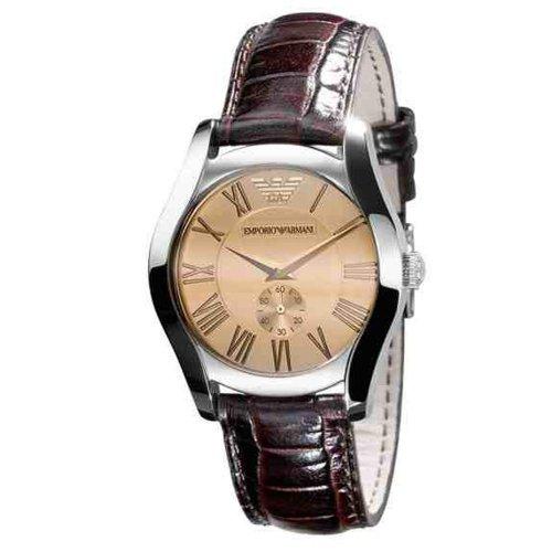 Emporio Armani Classic Men's & Ladies Unisex, Dark Brown Leather Strap Watch AR0646