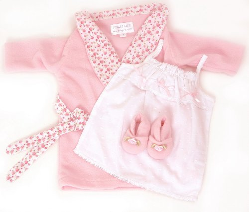 DOLLS WRAP DRESSING GOWN , NIGHTDRESS AND SLIPPERS NIGHT TIME SET18-20 INS DOLLS AND BEARS