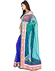 Milonee Turquoise & Blue Net Soft & Bamberg Georgette Saree With Unstitched Blouse