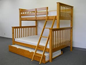 Bunk Bed Twin over Full Mission style in Honey with Twin Trundle by Bedz King