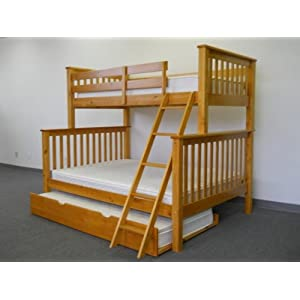 Bunk Bed Twin over Full Mission style in Honey with Twin Trundle