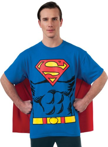 DC Comics Superman Costume T-Shirt With Cape - Medium, Large or XL