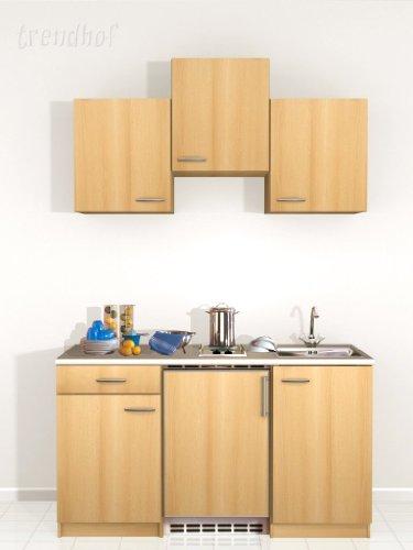 SINGLEKÜCHE Pantryküche Büro-Küche Spüle Kochplatten KÜCHENBLOCK 150cm Buche zu PKM