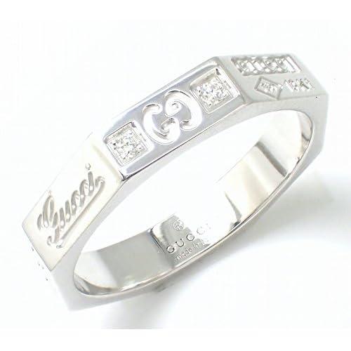 [グッチ] GUCCI オクタゴン リング 指輪 K18WG 750WG ホワイトゴールド ダイヤモンド ダイヤ #11 246471 J8540 9066