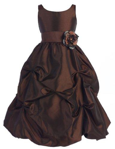 Wonder Girl Flower S-Band Big Girls' Taffeta Long Tea Length Dress 14 Chocolate