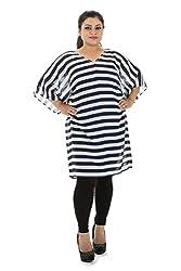 Lastinch Women's Striped Kimono Sleeve Dress (LIWC213_Blue White_XXXXL)