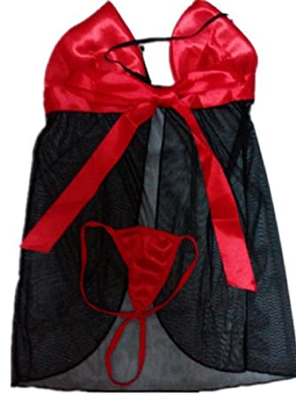 Ericasummit New Sexy Lingerie Babydoll Dress G-string Black&red,One Size