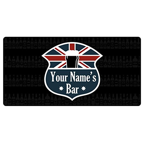 123t Union Jack Your Name's Bar - 3.0mm Personalised Custom Bar Runner (British Car Mats compare prices)