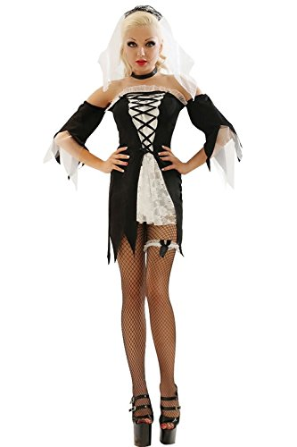 Voglee Women's Zombie Bride Halloween Costume Dress Set Party Dress Carvival