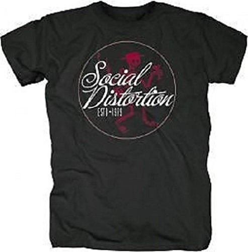 SOCIAL DISTORTION - SKELLIE CIRCLE - OFFICIAL MENS T SHIRT - cotone, Nero, 100% cotone, Uomo, XX-Large