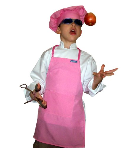 Small Children Kids Soft Pink Chef Set Apron & Adjustable Hat Quality Lite (Chef Apron Hat Kids compare prices)