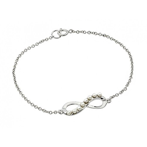 Sterling Silver Round Pearl Infinity Bracelets For Children & Women 7