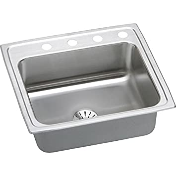 "Elkay LR2521PD5 18 Gauge Stainless Steel 25"" x 21.25"" x 7.875"" Single Bowl Top Mount Kitchen Sink Kit with 5 Hole"