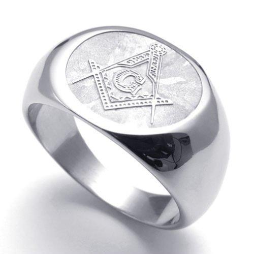 (キチシュウ)Aooazジュエリー メンズステンレスリング指輪 フリーメーソンリーのマーク シルバー 高品質のアクセサリー 日本サイズ17号(USサイズ8号)