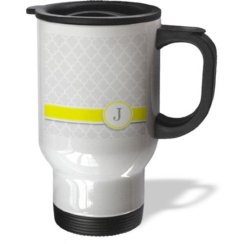 Tm_154576_1 Inspirationzstore Monograms - Your Personal Name Initial Letter J - Monogrammed Grey Quatrefoil Pattern - Personalized Yellow Gray - Travel Mug - 14Oz Stainless Steel Travel Mug