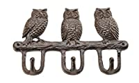 Gift Craft Cast Iron Owls with Hooks, Brown by Gift Craft