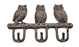 Gift Craft Cast Iron Owls with Hooks, Brown