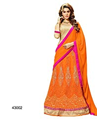 neo designer orange colour faux georgette lehengas