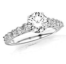 buy 1.02 Carat Classic U Prong Diamond Engagement Ring 14K White Gold With A 0.37 Carat H-I Vs1-Vs2 Round Brilliant Cut/Shape Center