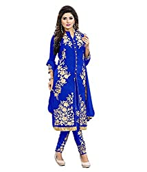Shubh Women's Georgette Semi Stitched Dress Material (Shubh_186_Blue_Free Size)