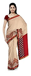 Priyam Sarees Women's Georgette Saree (Cream & Maroon)