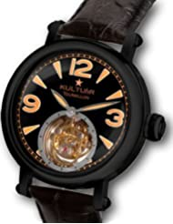 KULTUhR Zoom Pilot Tourbillon with Orange Arabic Numbers on Astro Black Dial - Black Case Limited Edition Watch
