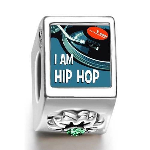 Burning Love Music I Am Hip Hop May Birthstone Photo Flower European Charm Bead Bracelets