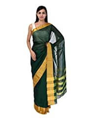 A1 Fashion Women Cotton Green Saree With Blouse Piece - B00VUS25XQ