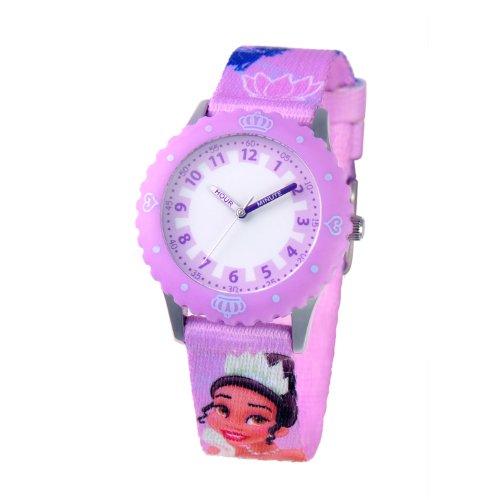 Disney Kids' W000425 Tiana Stainless Steel Purple Bezel Printed Strap Watch