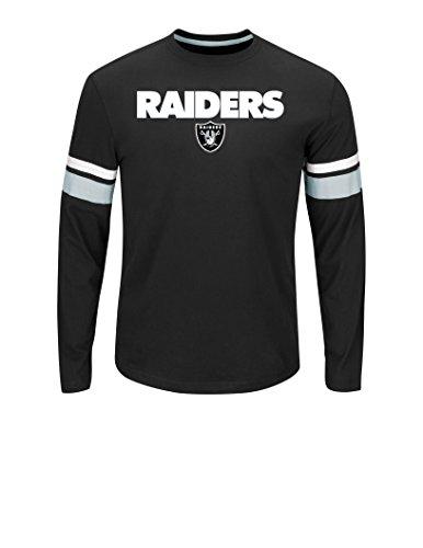 Mens Oakland Raiders Black Primary Receiver V Long Sleeve T-Shirt