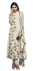 Justkartit Semi-Stitched Beautiful Off-White Colour Cotton Net (Jute Blended) Heavy Thread Embroidery Wedding Party Wear Dress Material / Awesome Rich Looking Authentic Cotton Net & Embroidery Salwar Kameez
