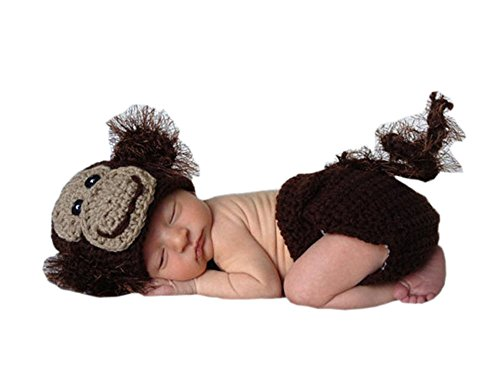 Pinbo Baby Photography Prop Crochet Knitted Animal Monkey Hat Diaper