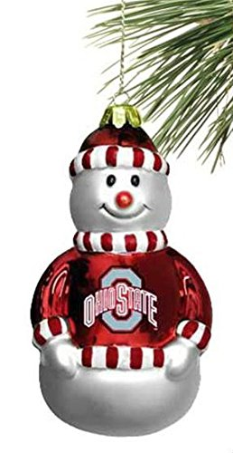 Ohio State Buckeyes 3 1/2″ Blown Glass Snowman Ornament