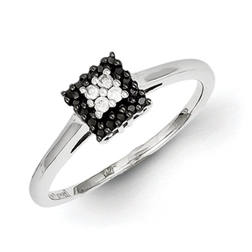 925 Silver Black and White Ring - Ring Size Options Range: L to P