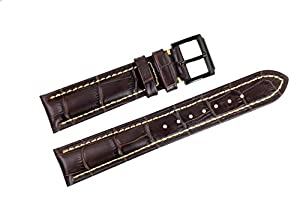 22mm Dark Brown Luxury Italian Leather Replacement Watch Straps/Bands Handmade Grosgrain Padded White Stitched for Swiss Brands